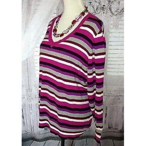 Studio Works Sweaters - Studio Works Striped Sweater & Necklace Set 2X